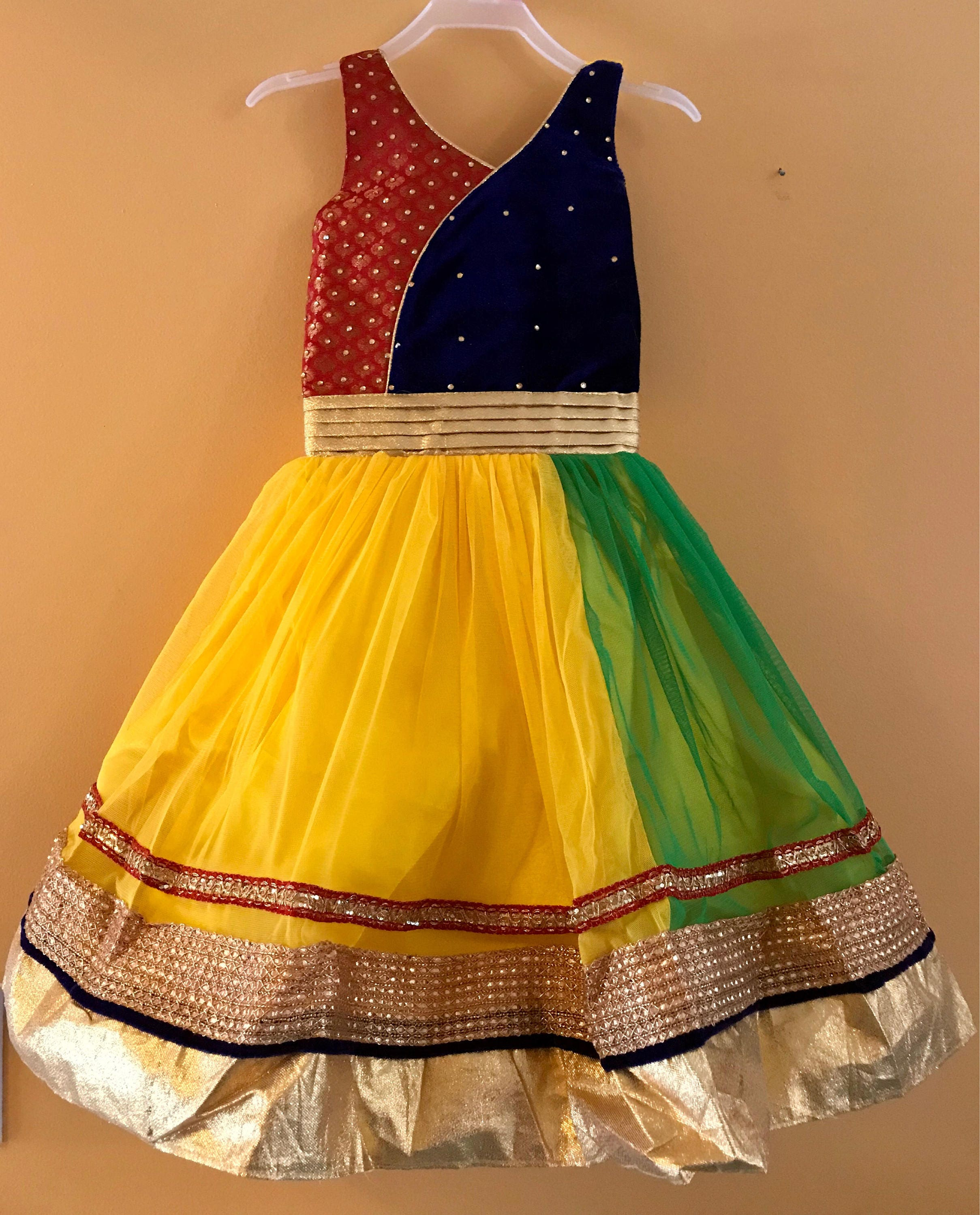 Kids Girls Yellow Party wear Dress for India wedding, Diwali, Holi ...