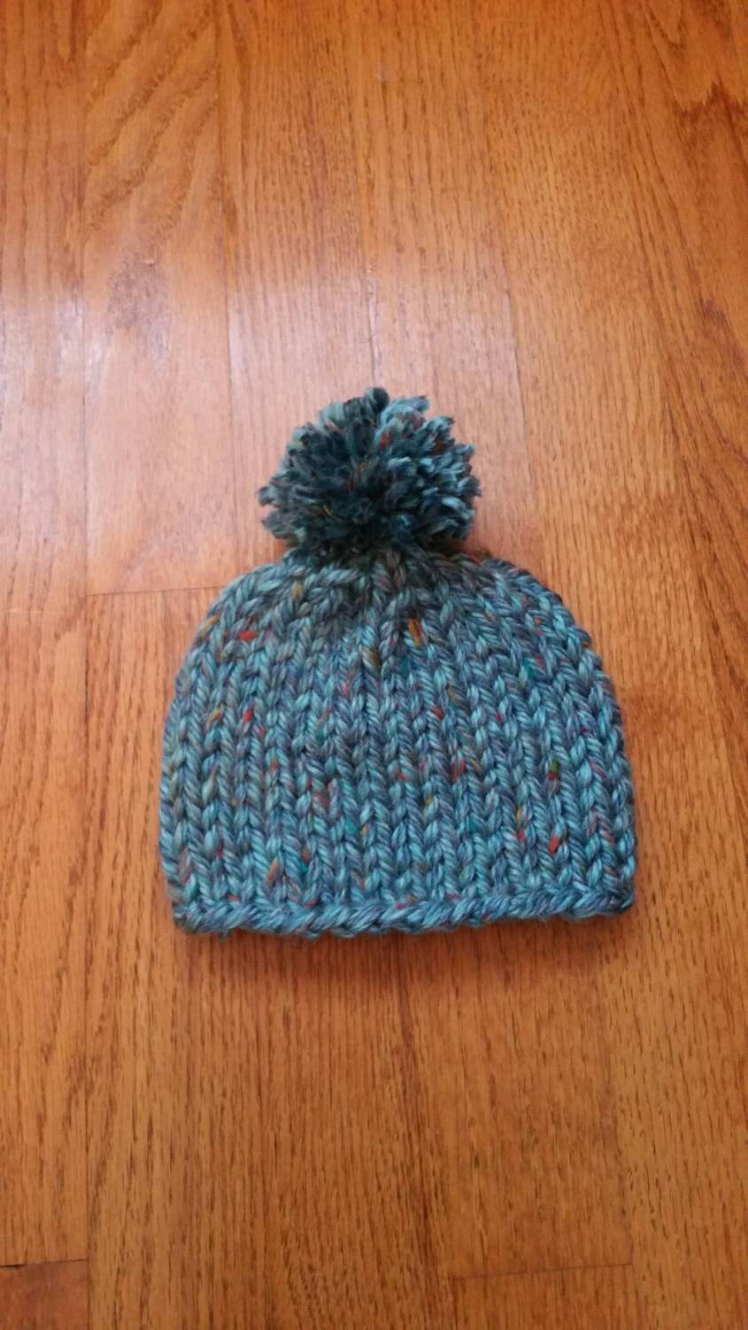 235d4e18340 Blue Speckled Baby Pom Pom Hat