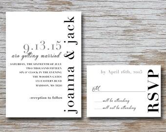 Vertical Wedding Invitation Set (DIGITAL FILE) 5 x 7 invitation and 5 x 3.5 RSVP card Wedding; Engagment ; Love; Marriage; Engagment;