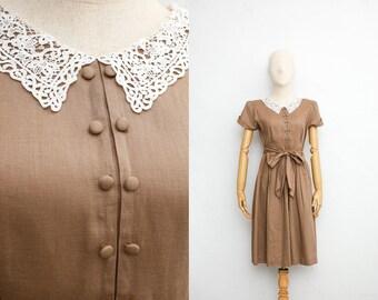 3932c8934a2 Vintage 70s Dress Sheer Cotton Shirt Dress Japanese