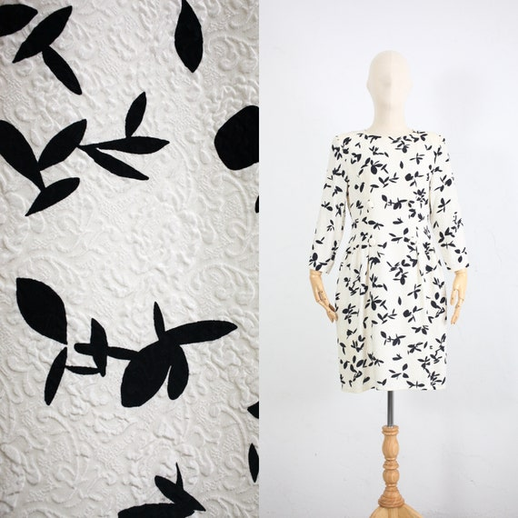 Vintage 90s Silk Dress | Black and White Silk Shea