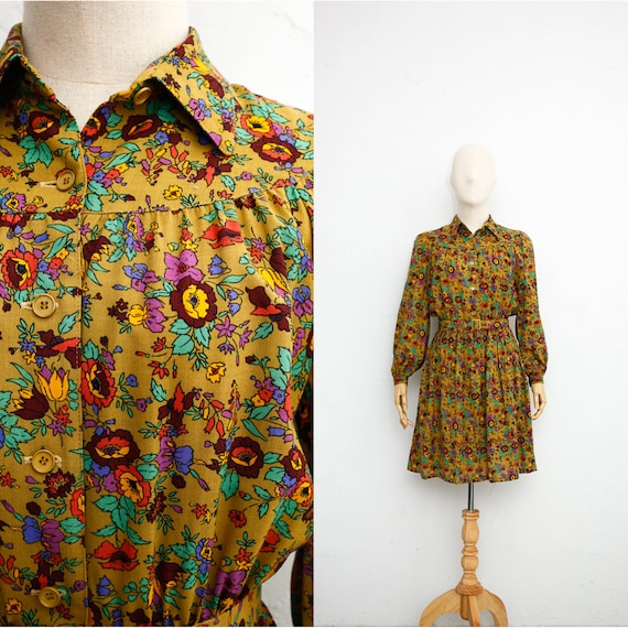 Vintage 70s Dress | Women's Wool Dress | 70s Japan