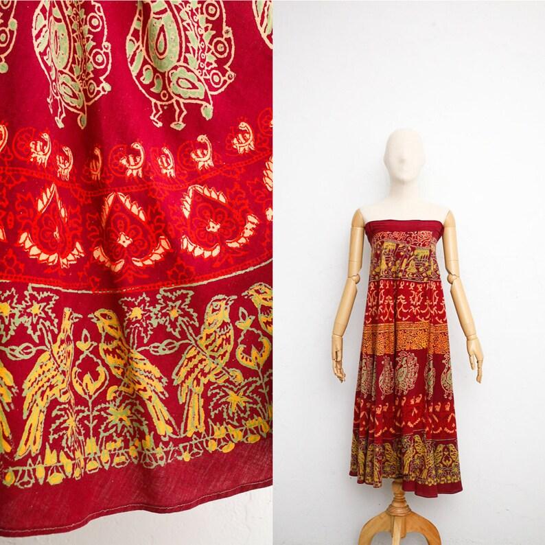 8e3e994e36c64 Des années 70 robe en coton indien Robe indienne Vintage