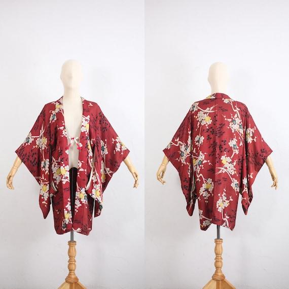 Vintage Japanese Kimono Haori Jacket Tulip Floral