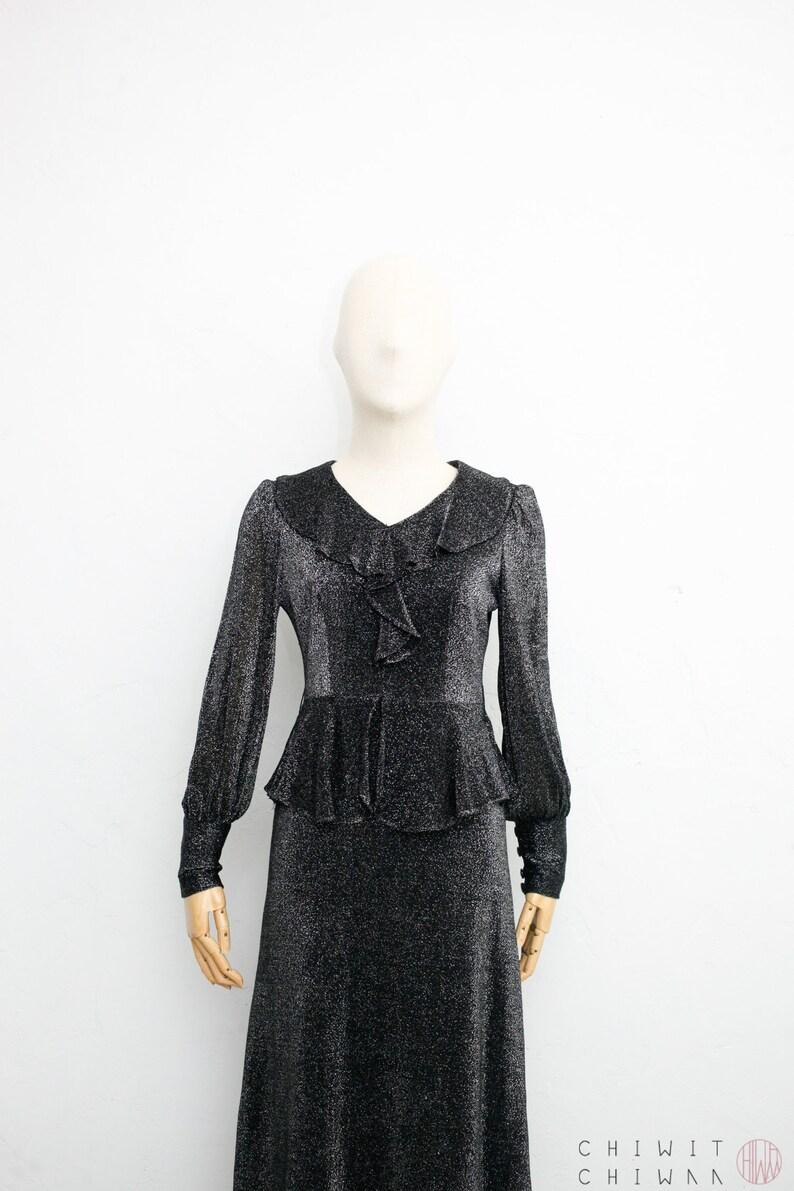 Evening Dress Cocktail Maxi Dress Black x Silver Glitter Ruffled Dress Japanese Vintage Dress Vintage 60s Dress Party Dress XS