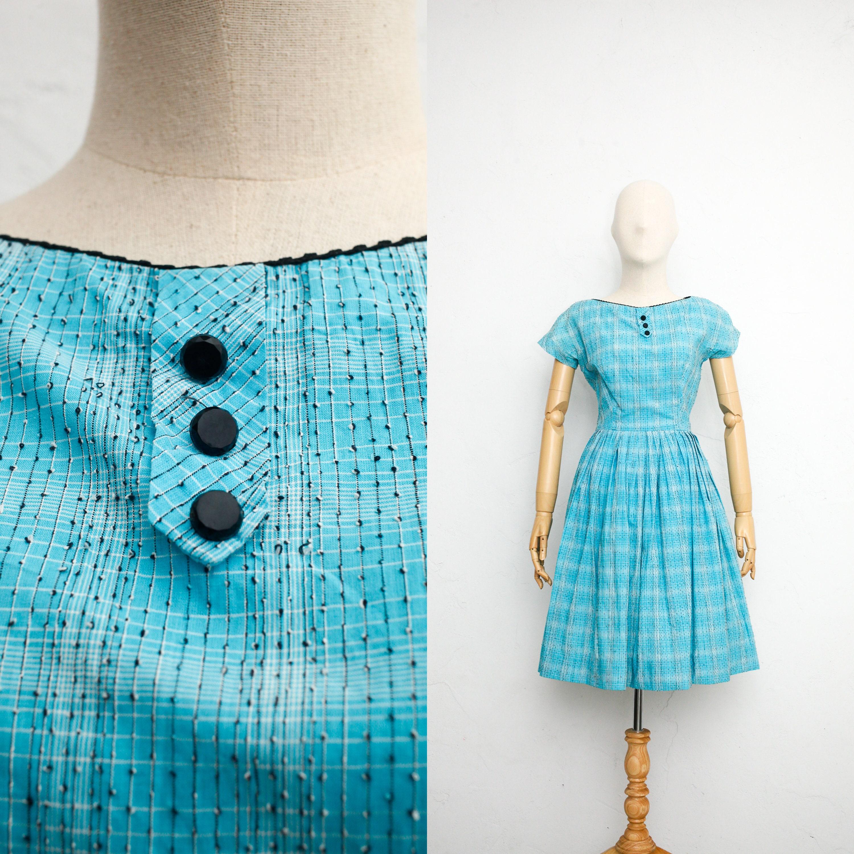 1950s Hats: Pillbox, Fascinator, Wedding, Sun Hats Vintage 50S Dress  Shirtwaist Blue Cotton Full Skirt Summer Fit  Flare Pin-Up $13.00 AT vintagedancer.com