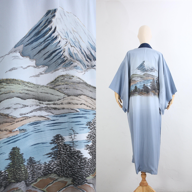1950s Mens Hats | 50s Vintage Men's Hats Vintage Silk Kimono  Japanese 50S Mens Juban Duster Robe Long Hand-Painted Fuji Landscape Nagajuban For Men $132.00 AT vintagedancer.com