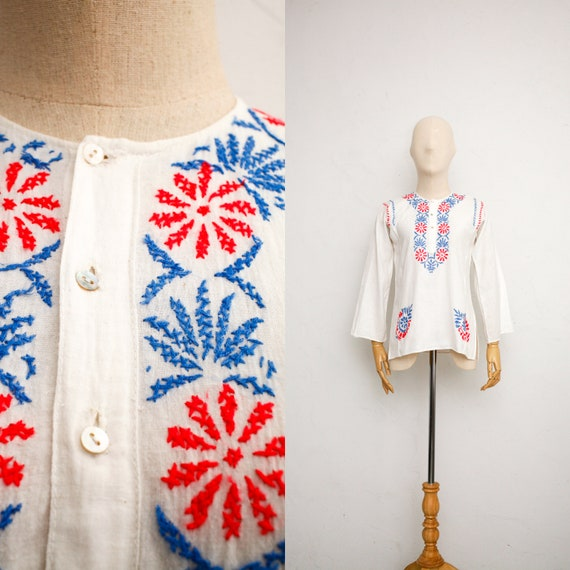 Vintage 1970s Sheer Cotton Gauze Bohemian Blouse ~ Made In India Hand Blocked Floral Tunic Top ~ Boho Hippie Indian Summer Shirt