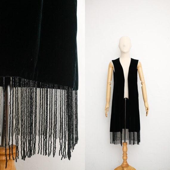 Vintage 70s Beaded Black Velvet Vest | Rayon Velve