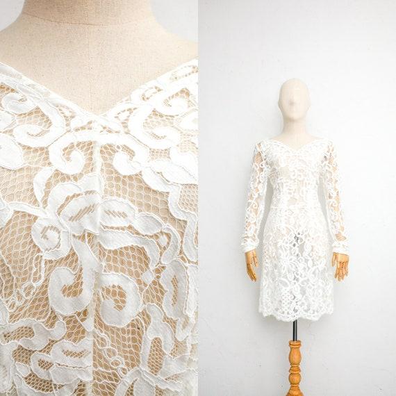 70s Vintage Wedding Dress | White Cotton Lace Dres