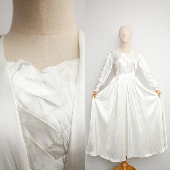 1930s Vintage Wedding Dress | White Satin Dress |