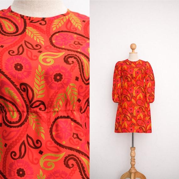 Vintage Silk Dress   60s Mod Mini Dress   Twiggy D