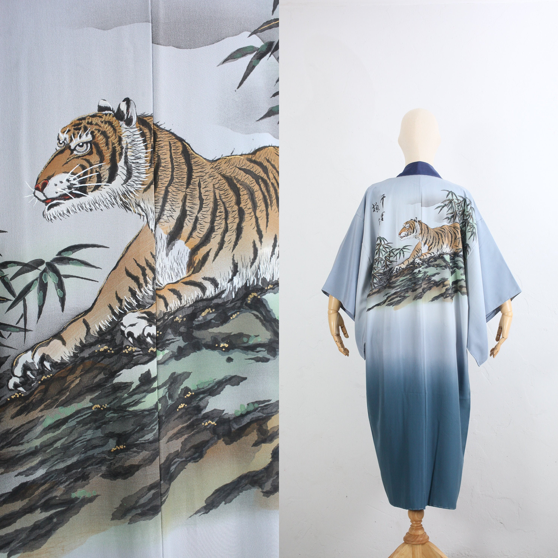 1950s Mens Hats | 50s Vintage Men's Hats Vintage Silk Kimono  Japanese 50S Mens Juban Duster Robe Long Hand-Painted Tiger Unisex $0.00 AT vintagedancer.com