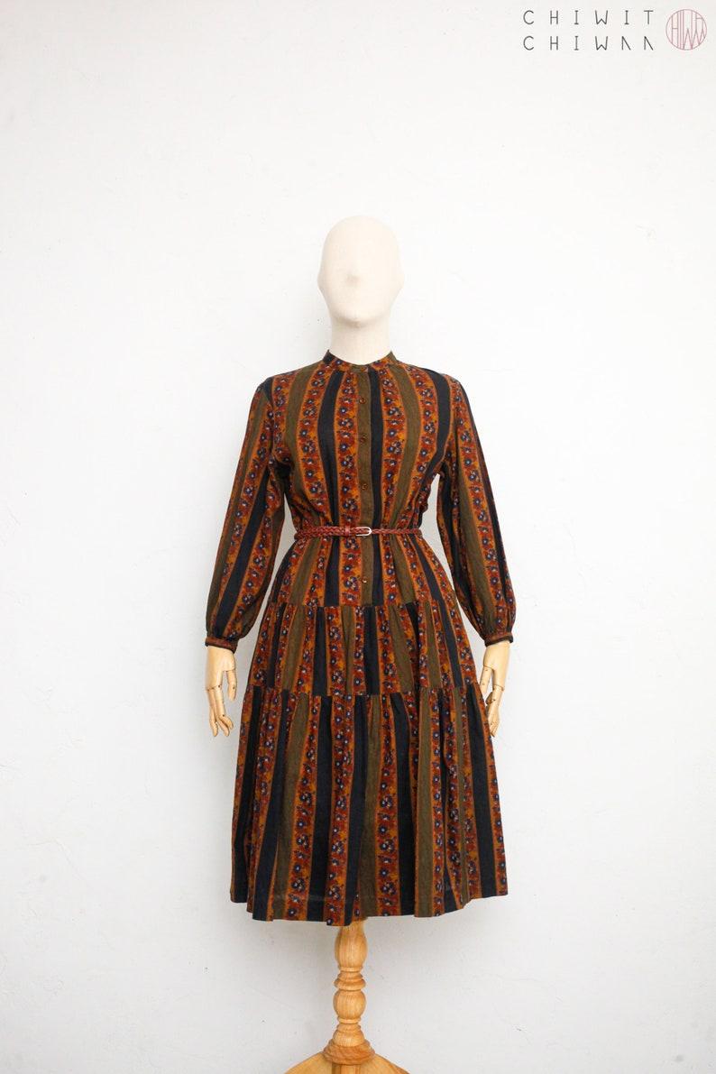 Romantic Country Prairie Dress Cotton Shirt Dress Long Sleeve Winter Dress Japanese Vintage Dress Burnt Orange Vintage 70s Dress