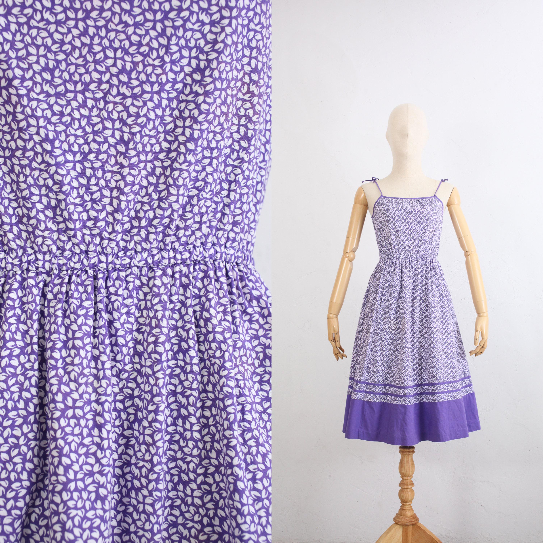 80s Dresses | Casual to Party Dresses 80S Laura Ashley Dress  Vintage Cotton Sun Summer Day Romantic Beach Purple X Small Floral Print Apron $13.00 AT vintagedancer.com
