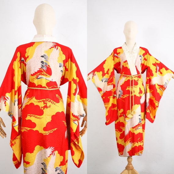 Antique Japanese Kimono | 20s 30s Silk Satin Damas