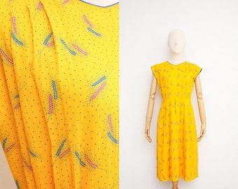 Vintage 70s Dress | Vintage Japanese Dress | Yellow Textured Cotton Day Dress | Wheat Motif Novelty Print | Capped Sleeve Market Dress