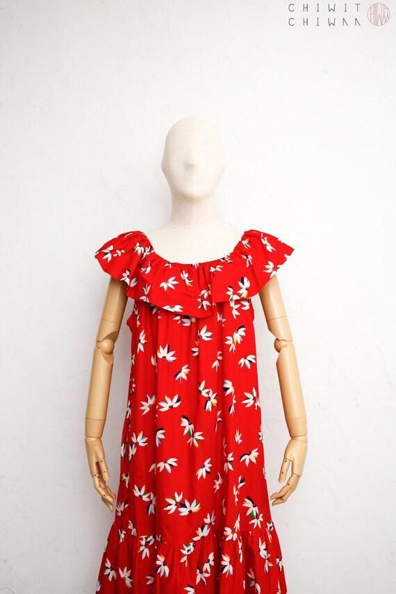 Sayhi Womens Ruffled Off-The-Shoulder Dress Floral Long Maxi Dress Evening Party Summer Beach Sundress