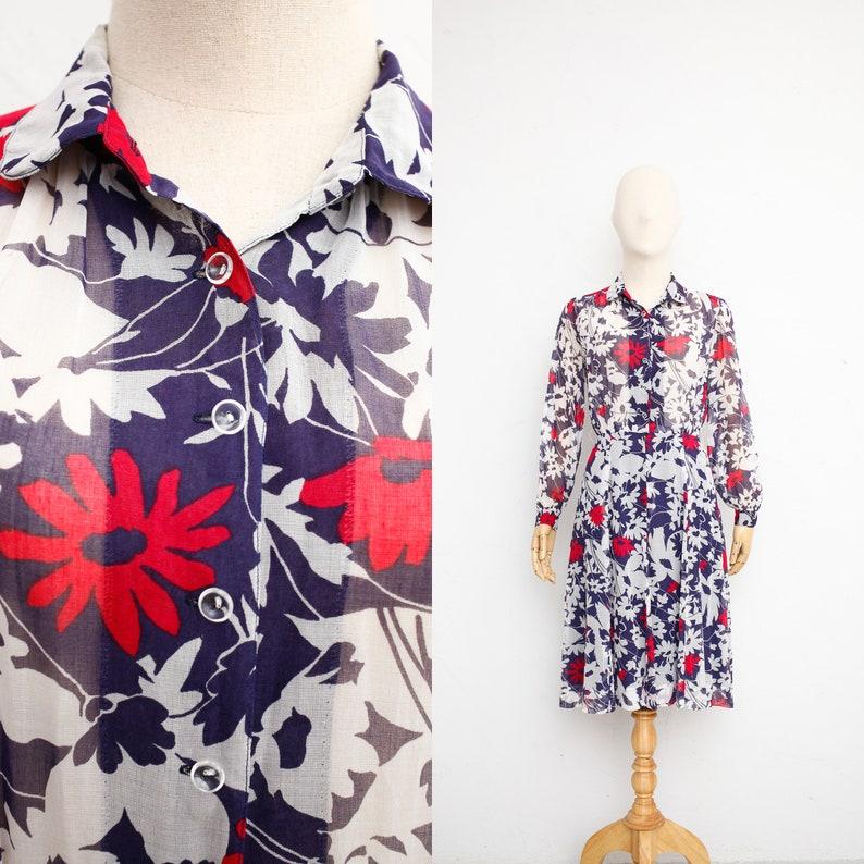 c6cee99250 Vintage 70s Dress Sheer Cotton Gauze Dress Japanese