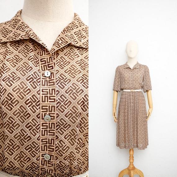 Vintage 70s Dress | Japanese Vintage Dress | Brown