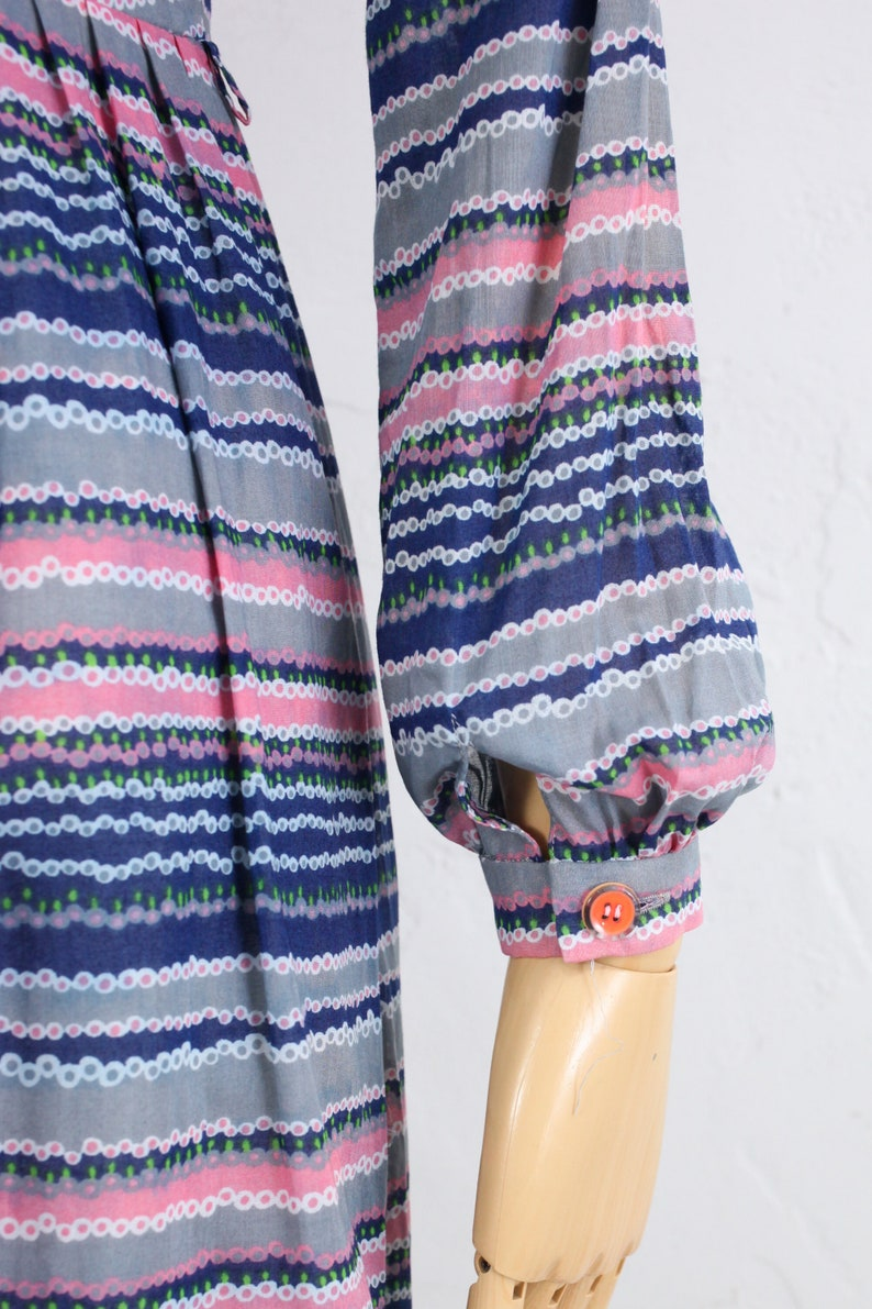 Sheer Cotton Shirtdress 1970s Vintage Dress Long Sleeve Pleated Skirt Japanese Vintage Dress Blue Striped Print Blouson Dress