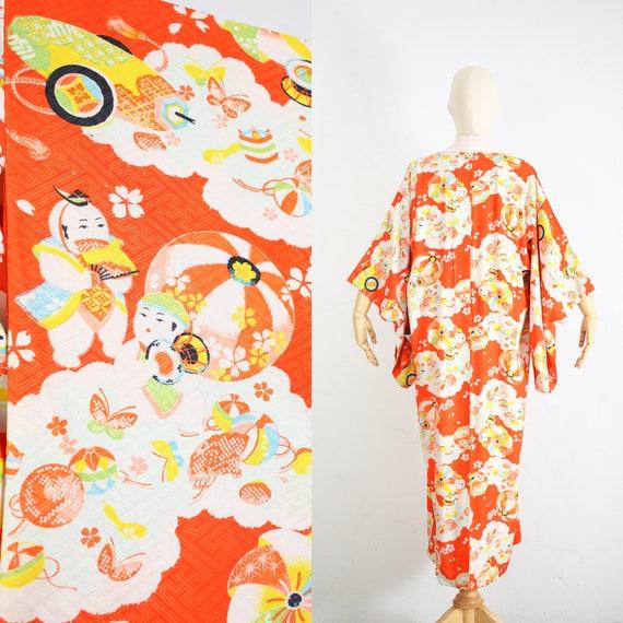 Vintage Japanese Rayon x Silk Kimono   Traditional