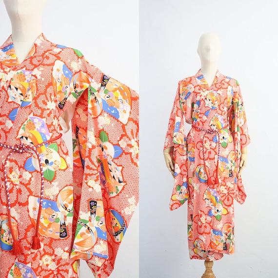Vintage Japanese Rayon Kimono   Traditional Silk K