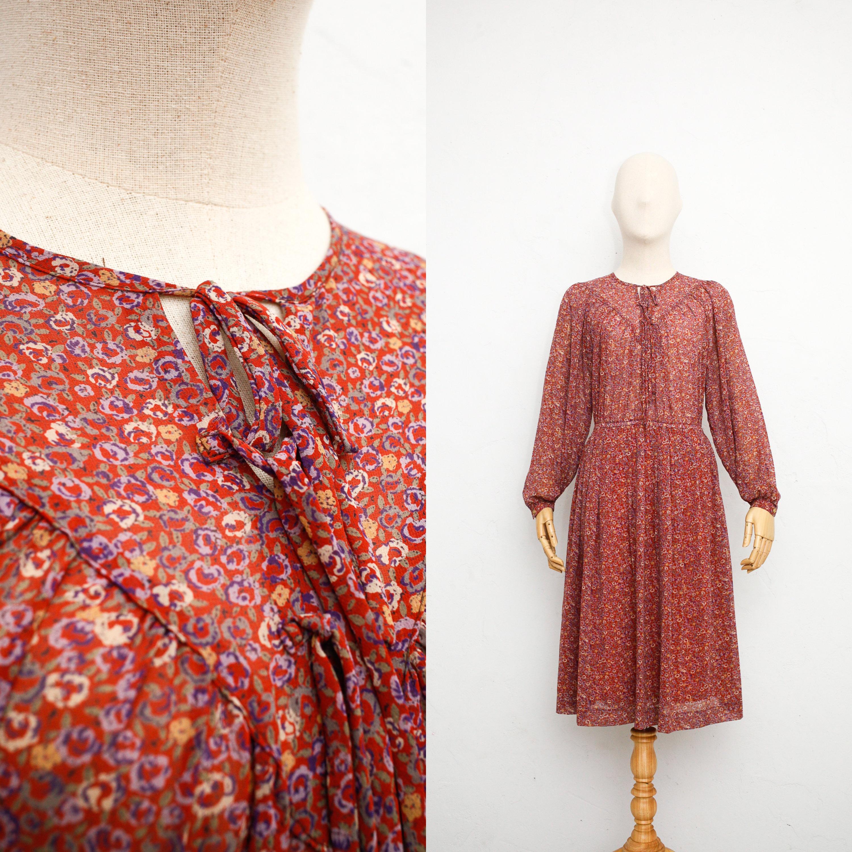 8b056b0b2fd5 Vintage 1970s Dress | Japanese Vintage Dress | Tinted Rose Red Floral Print  Dress | Bishop Long Sleeve | Sheer Chiffon Dress
