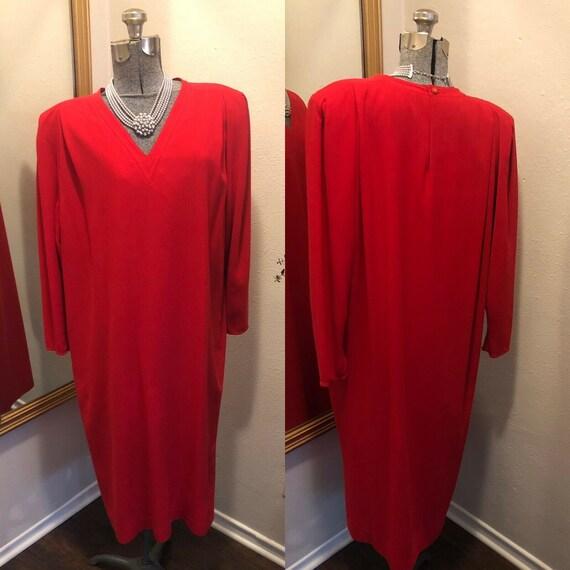 Vintage I. Magnin V Neck Pocketed Long Sleeve Dres