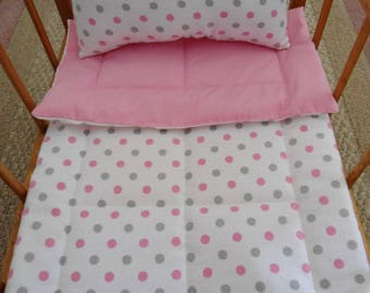 Pink Doll Bedding Set, Pink and Gray Dots, Flannel Doll Bedding, Doll Blanket & Pillow, Doll Crib Set, Doll Comforter Set, Doll Blanket Set