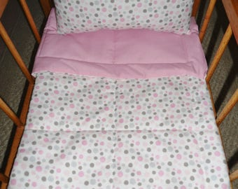 Pink and Gray Dots, Pink Doll Bedding Set, Doll Bedding Set, Doll Blanket & Pillow Set, Doll Crib Set, Doll Comforter Set, Doll Blanket Set