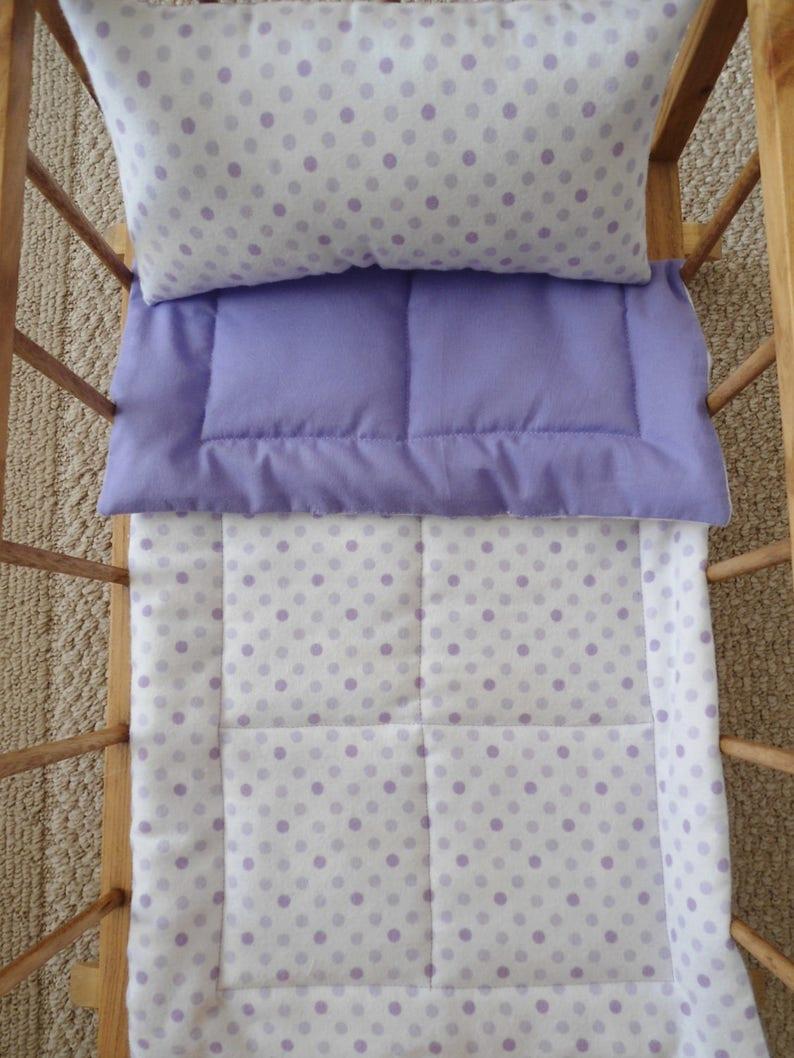 Flannel Doll Blanket /& Pillow Purple Doll Bedding Set Lavender Polka Dots