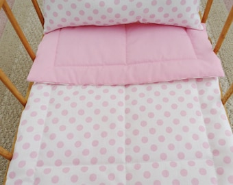 Pink Doll  Bedding, White with Pink Dots, Doll Bedding Set, Doll Blanket & Pillow Set, Doll Crib Set, Doll Comforter Set, Doll Blanket Set
