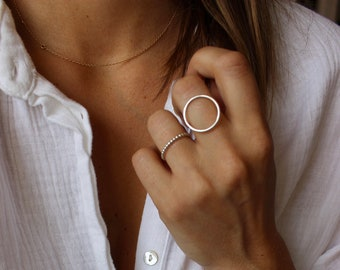 Round ring, sterling silver ring circle, large round ring, thin ring, ring circle