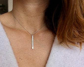Choker necklace vertical bar necklace bar necklace bar rectangle pendant necklace, Sterling Silver