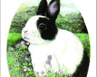 ATC ACEO Benjamin In The Clover Dutch Bunny Rabbit Art Card
