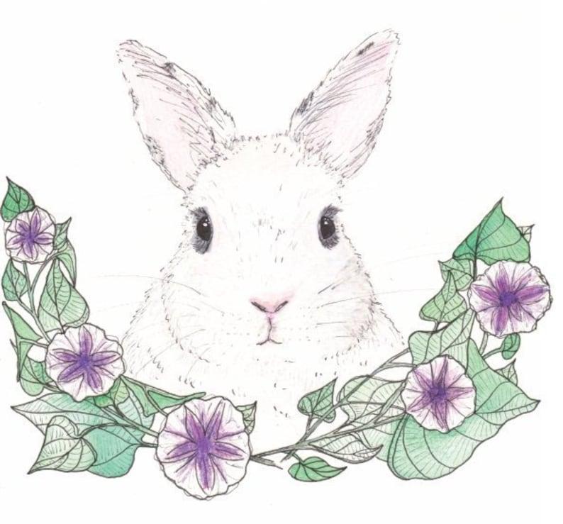 Sweet Po Bunny Art Print Bunny Portrait with Flowers Flower image 1