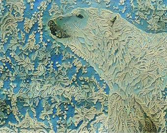ACEO ATC Polar Bear Blue Lace Art Card animal art    - gift idea for animal lovers - cheerful art for your home
