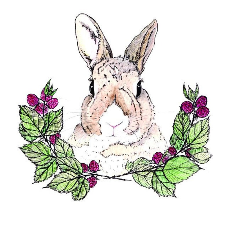 Raspberry Bunny Art Print Bunny Portrait with Flowers Flower image 0