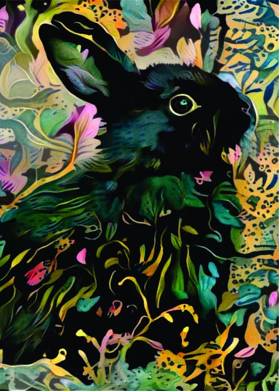 ACEO ATC Bunny Billy colorful art card animal art cheerful art for your home gift idea for animal lovers
