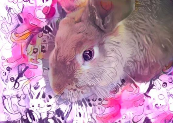 ACEO ATC Bunny Billy colorful art card animal art gift idea for animal lovers cheerful art for your home
