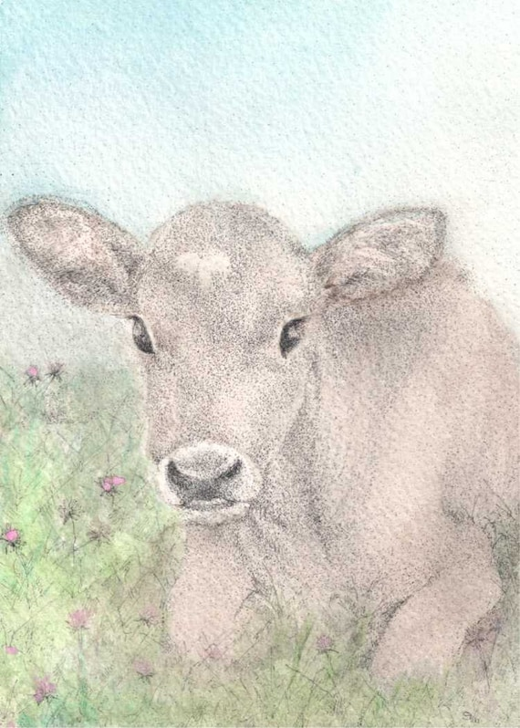 cheerful art for your home ACEO New Life gift idea for animal lovers Calf cow ATC blue animal art