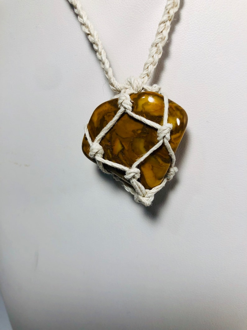Handmade Crystal Necklace reiki Stones to open Chakras Healing Crystals Yellow Jasper Crystal Necklace Hemp Necklace Metaphysical
