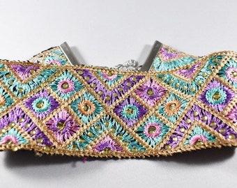 RAKHI CHOKED, Indian Fabric Trim Choker Necklace, Wide Choker Necklace, Colorful Choker Necklace, Choker Necklace, India pattern