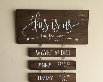 Personalized This Is Us Sign Wood - Custom Family Name Signs 0a92bc0be334