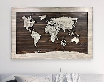 World map art map of world wood wall art large wooden map home wall decor idea map of world with countries wood wall art outline continents 3d wall art carved push pin map travel decor gumiabroncs Choice Image