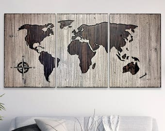 Art for house home wall decor rustic world map wood wall etsy world map art wooden map carved home wall decor house decorating idea rustic barnwood style looks like reclaimed wood shabby chic gumiabroncs Images