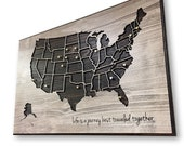 Push Pin Map, Map to Mark Travels, Travel Log, US Map Wall Art, Anniversary Gift, Wedding gift idea, Gift for Husband, Wife, Wedding Shower
