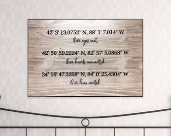 Wedding Photo Gift Metal or Canvas or Paper Best Friend Wedding Gift Newlywed Gift Wall Decor Coordinates Sign Just Married Gift