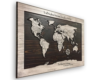 Wooden world map etsy our adventure travel decor world map wood wall art wooden map carved 3d 5th anniversary gift husband wife push pin country lines gumiabroncs Images